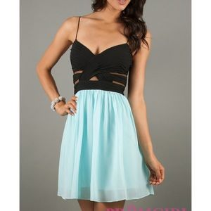 Black and blue mesh party dress